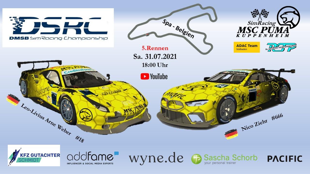 DMSB SimRacing Championship – 5.Rennen in Spa Belgien