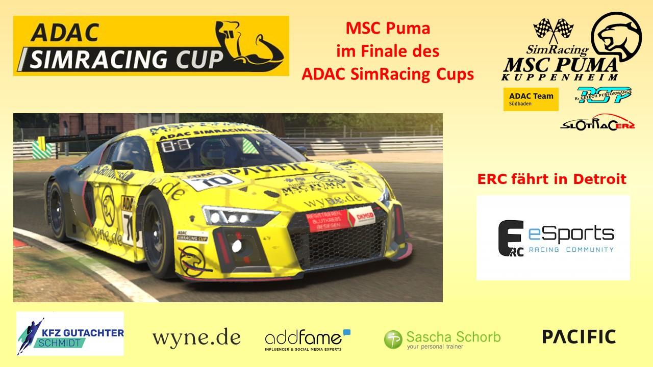 Puma im Finale des ADAC SimRacing Cups und die ERC fährt in Detroit